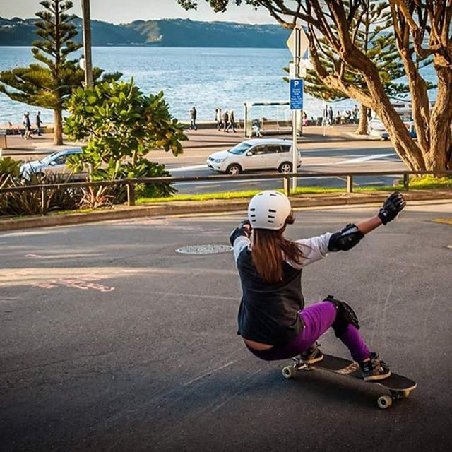 LGC New Zealand rider @geeraisin squatting with a view. Nice! Photo cred?  #longboardgirlscrew #womensupportingwomen #gracewong #lgcnewzealand #newzealand #skatelikeagirl #LGC