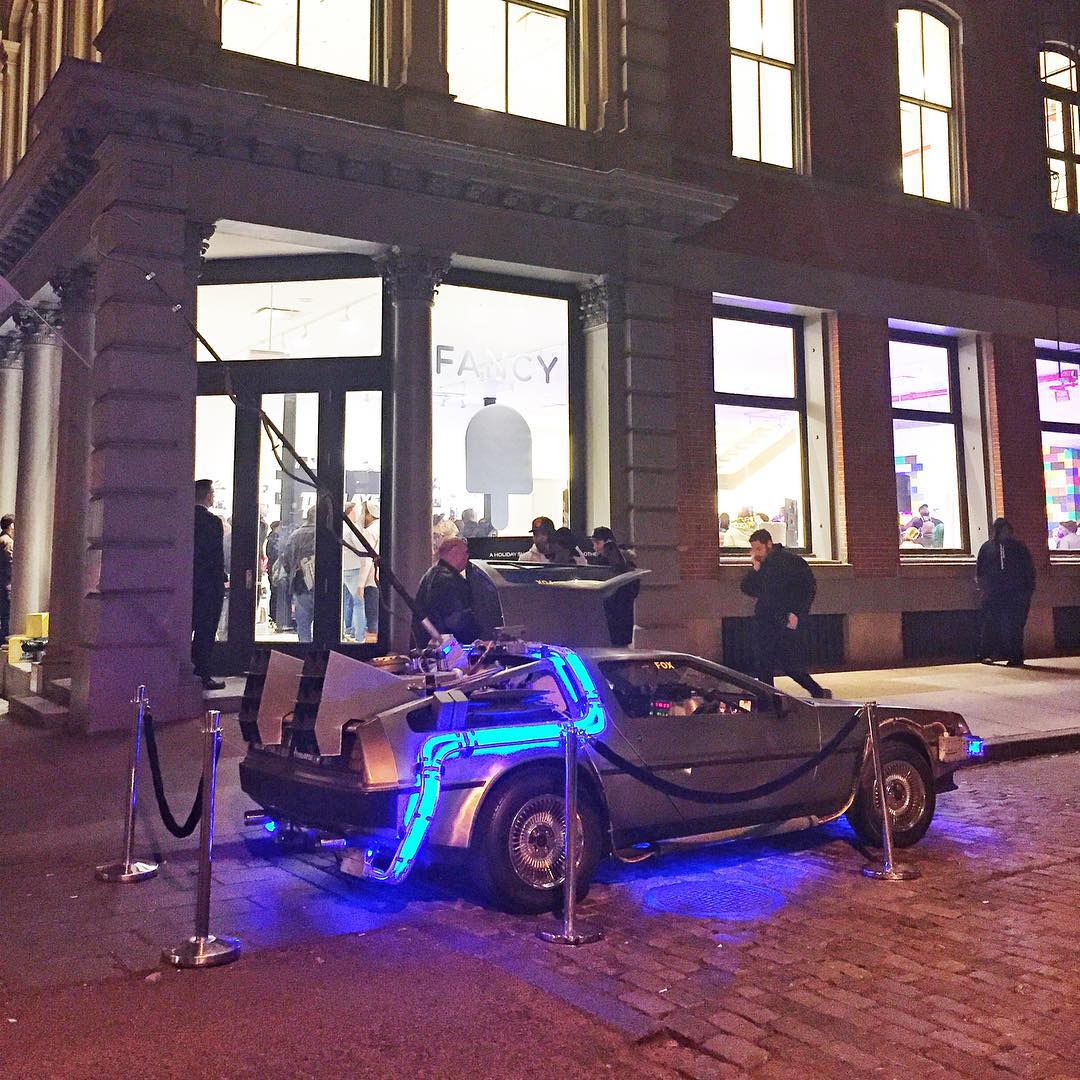 "Spotted this last night in NYC on a street in SoHo: the Back to the Future DeLorean ""time machine"" car. Seeing random, totally unexpected, awesome things like this is what helps make New York what it is. #streetparked #hardparked #futureparked..."