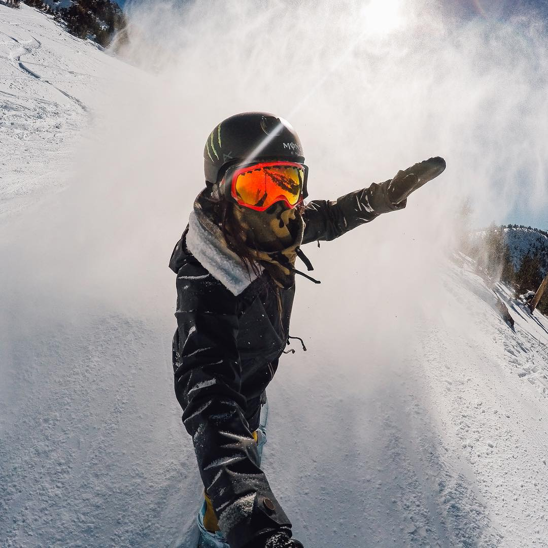 #GoProGirl @chloekimsnow has been making her way through @mammothmountain leaving a flurry of snow in her wake. Tag a friend you'll be shredding with this season for a chance to win a signed #ChloeKim #HERO4Session. #GoPro #GoProSnow #Giveaway...