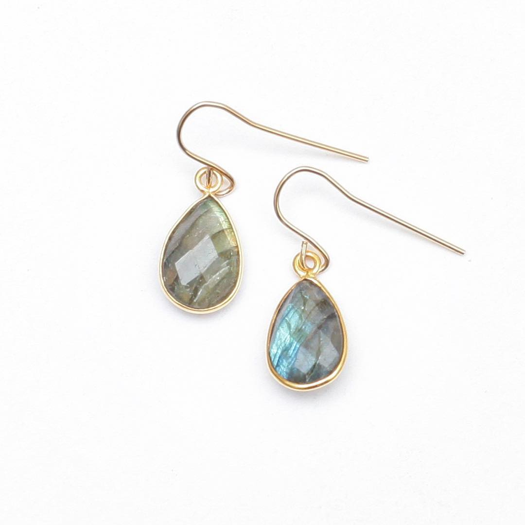 Classic Labradorite Earrings. Custom cut to medium sized gemstones for a larger style than the classics. #labradorite  Find these alongside many more online!