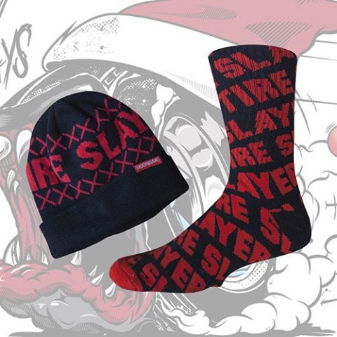 HNGN Holiday Countdown: TODAY ONLY! Tire Slayer beanie and socks for only 25 bucks. Click  the link in our bio for easy access! #wegotyoucovered