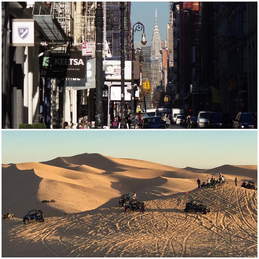 9 hours' difference in my day today: from the streets of NYC this morning, to the California dunes this afternoon. #coasttocoast #travellife ✈️