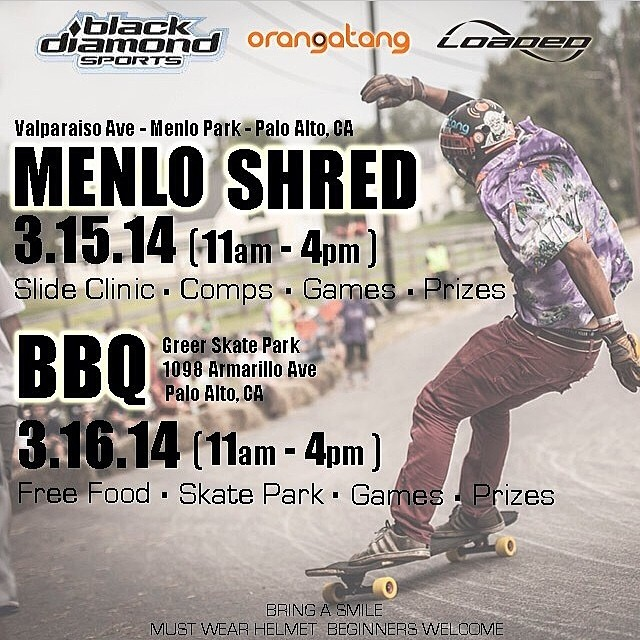 #MenloShred is kicking off at 11 today! Adam Colton will be running the clinic with the new riders, Ethan and Ari will be skating and snapping pics with the local shredders! #loadedboards #orangatangwheels