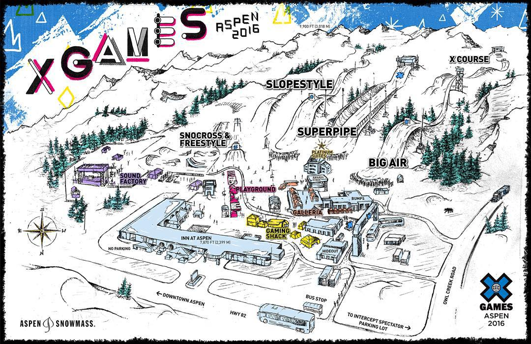 Our 2016 #XGames Aspen venue map is live on XGames.com!  It's goin' down Jan. 28-31 at Buttermilk Mountain.