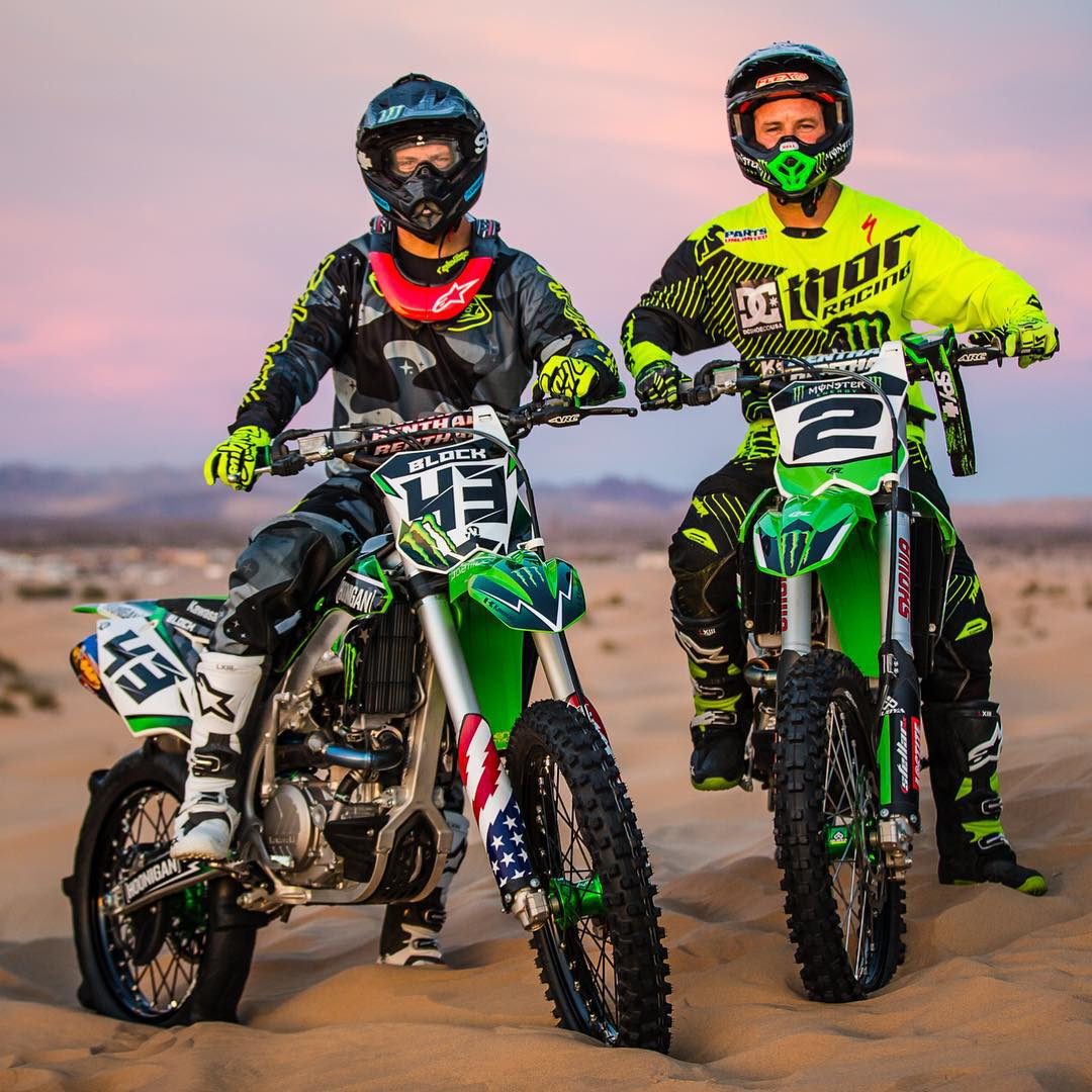 Day 1 (for me) of @MonsterEnergy's #Doonies2 shooting. Look who showed up: my good friend/King of Supercross, Jeremy McGrath (@jeremymcgrath2). So much fun riding with this dude, even though I'm suuuuuuper rusty on the bike! Ha. @KawasakiUSA #motobros...