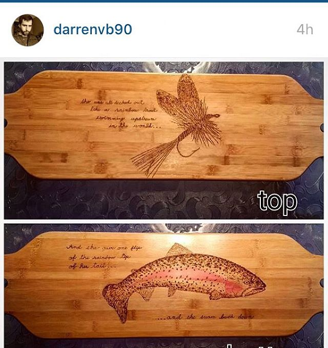 @darrenvb90 did a sick #woodburning on one of our #longboards #skatelife #art #make #cool #stuff #longboard #skateboard #bamboo