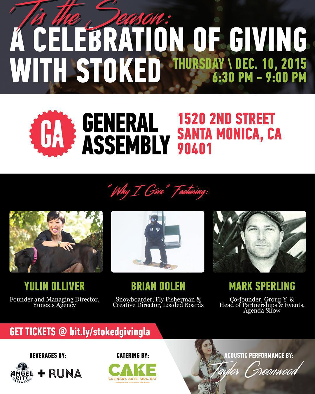 Last call, LA! Join us for a fantastic evening of food and drink from @drinkruna @angelcitybeer, CAKE, music from @taylorgmusic & an inspiring discussion featuring @yulino @yunexisagency @loadedboards @groupy @agendashow! A few tickets are still...