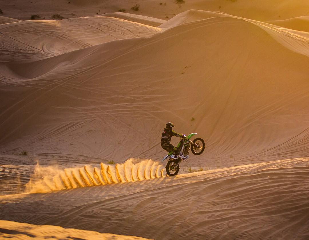 Two of my favorite things about running paddle tires on a motocross bike: crazy traction in the sand and super unique rooster tails. As seen in this shot, taken yesterday during golden hour goodness whilst shooting for #Doonies2 was going on somewhere...