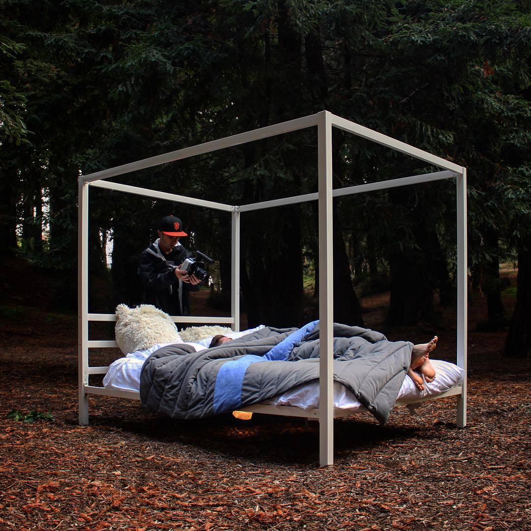 #tbt to that time we carried a 4-post bed into the middle of a redwood forest...