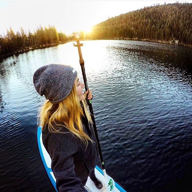 Happy Holidays from the KZ team!! @hannahbrie staying warm with the Stone Grey beanie  FREE SHIPPING now until DEC 17th  #Kameleonz #Paddleboarding #Holidays #HolidaySeason