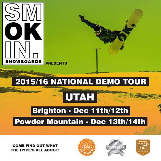 We're on the way to #Utah , see you tomorrow morning @brightonresort . Come try our current boards and @gbpgremlinz , just bring your ID , and credit/debit card for us to hold onto #SmokinNationaDemoTour  #weareOK | #comeandfindoutwhatthehypesallabout...