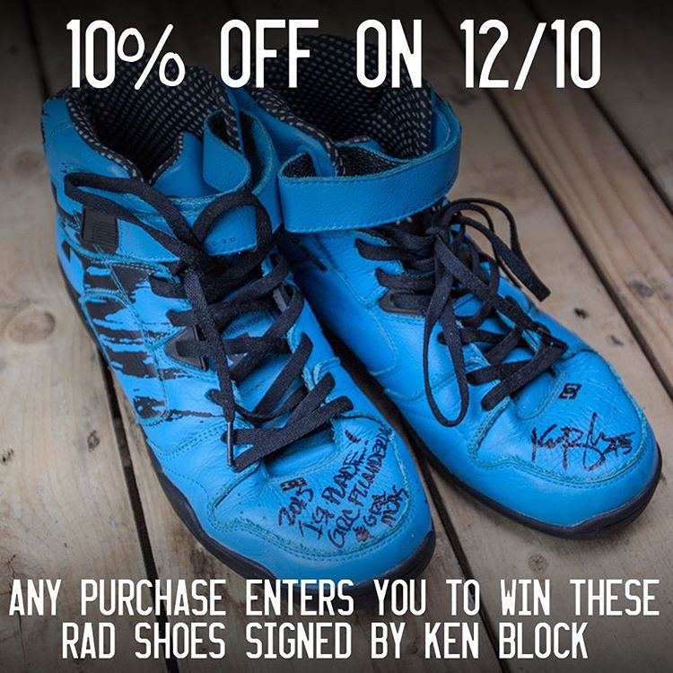 RAFFLE: Today only, every purchase on #hooniganDOTcom gets 10% off AND is entered to win Ken Block's signed race shoes! Be the only one on the block with the scent of @kblock43's feet in your home! #hngnairfreshenerincluded.