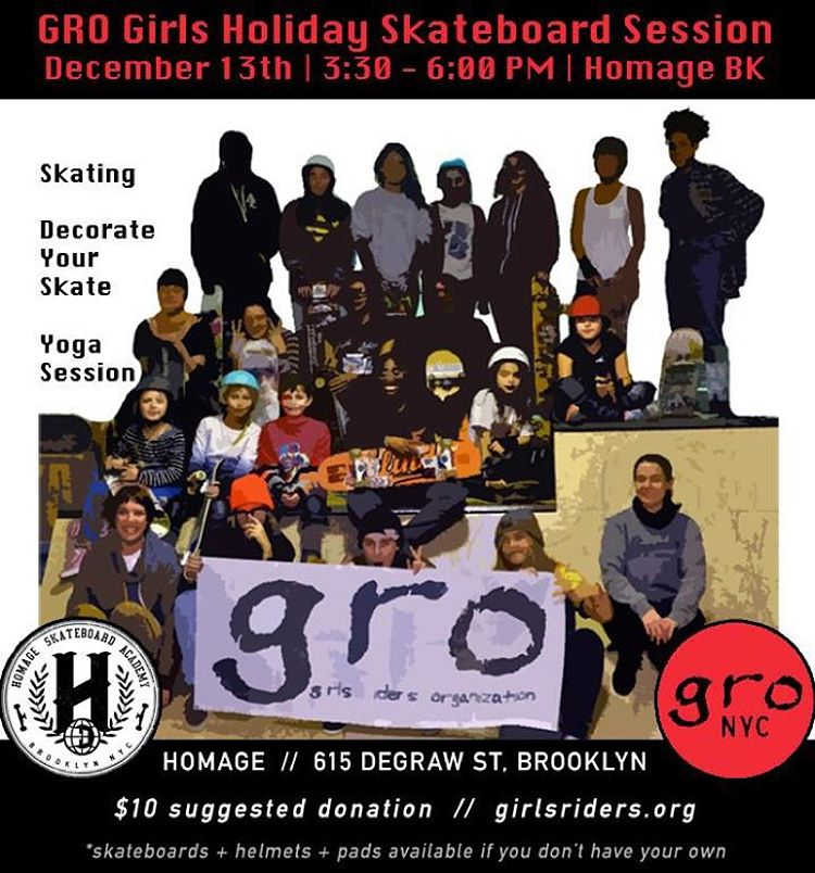 This Sunday is our last session @homage_brooklyn for the year. Come by for skating, board decorating, and a yoga session