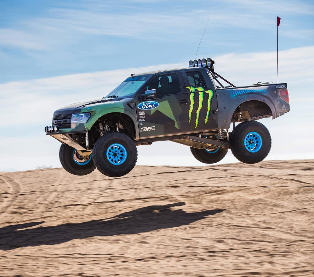 Fact: Ford Raptors love to jump. And I love jumping them. Gave the @OfficialSVC prerunner a good workout today in the desert, this thing is FUN. @monsterenergy #Doonies2 #FordRaptor #raptorFTW