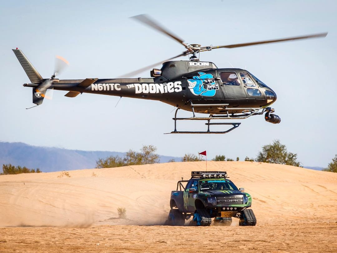 Lots of @MonsterEnergy's #Doonies2 video has been filmed with this custom livery'd helicopter this week. The shots from it are insane!! Stoked for you to see them when the video drops. #airbornebangerfactory #RaptorTRAX