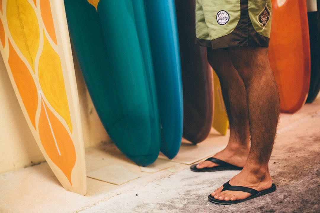 Decisions, decisions.  We stopped in at the @junodsurfboards shaping room a couple weeks back to drop him a few more pairs of his signature trunk (shown here). What was meant to be a quick drop off turned into a private tour for the crew-- believe us...
