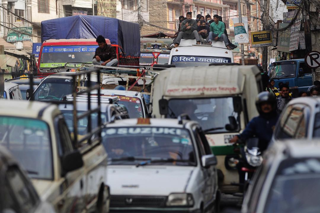 Classic Kathmandu. The number of vehicles has increased 400% in the past decade without the addition of many new roads.