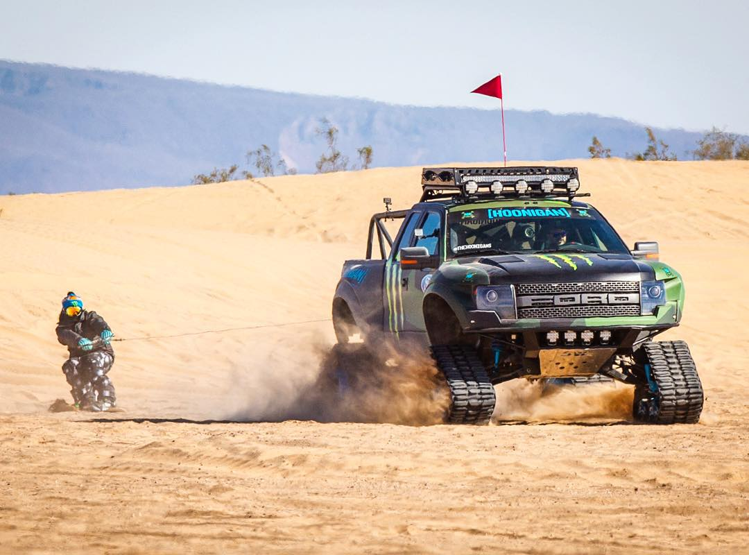 No big deal, just towing @TheDingoinSnow through the desert on a snowboard. While driving #RaptorTRAX. All for @MonsterEnergy's #Doonies2. Pretty stoked I was in the driver's seat enjoying the A/C for this one! Ha. #allterrainhoonage #dingotow