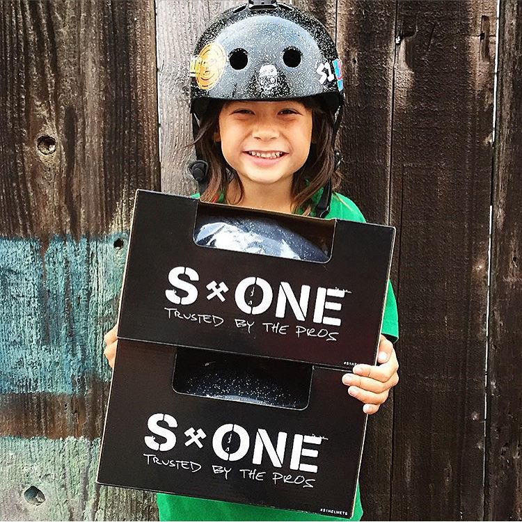 6 year old @orion_casas_  hyped on the S1 Mini Lifer Helmet. The mini Lifer helmet is fully certified to help protect your head from multiple impacts and high impacts and lab tests show it protects your brain 5x more than traditional soft foam skate...