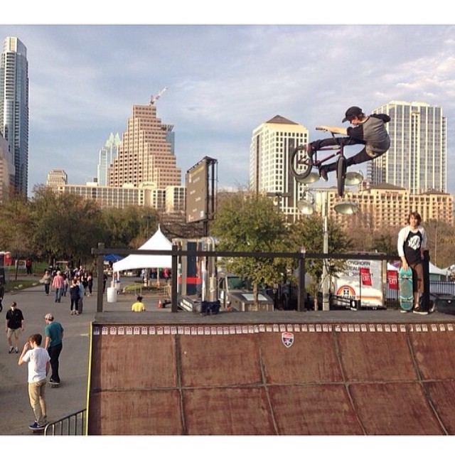@tommydugan and the ATX skyline. Great week running around #sxsw. #xgames #goshred
