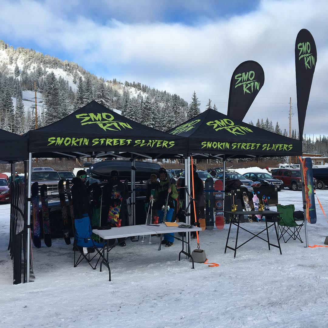 Fresh snow today for our #SmokinNationaDemoTour stop two  @brightonresort , come try our new boards and @gbpgremlinz  #weareOK | #ForRidersByRiders | #3yearwarranty
