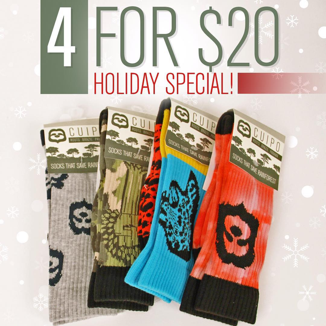 You know what's better than getting 1 pair of #CuipoRoots socks? Getting 4 pairs for only $20!! Whether you gift them away or keep them all for yourself, you'll be saving serious $$ and rainforest while keeping your feet stylishly warm. #Cuipo...