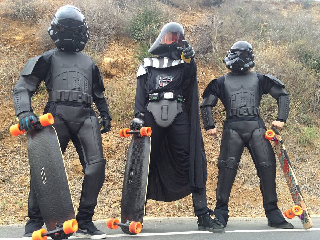 Darth Skater and his Shadow Troopers are combing the hills for the hidden Jedi menace that have been in hiding for decades... Keep your eyes peeled for a head turning new project from #LoadedBoards and @OrangatangWheels !!! #TheForceAwakens #StarWars...