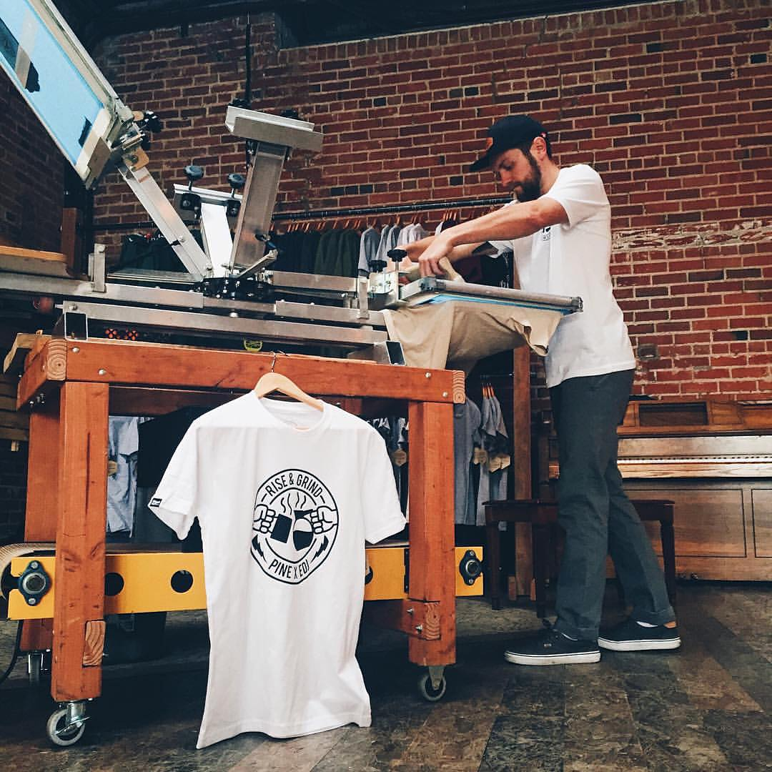 We will be printing at Everyday Joe's until 6 tonight and 9 - 1 tomorrow. These collab tees are going fast; stop by for some handcrafted cotton and bean juice! // #fortcollins #pinebrand #EverydayEquipment #HandPrintedInTheRockies