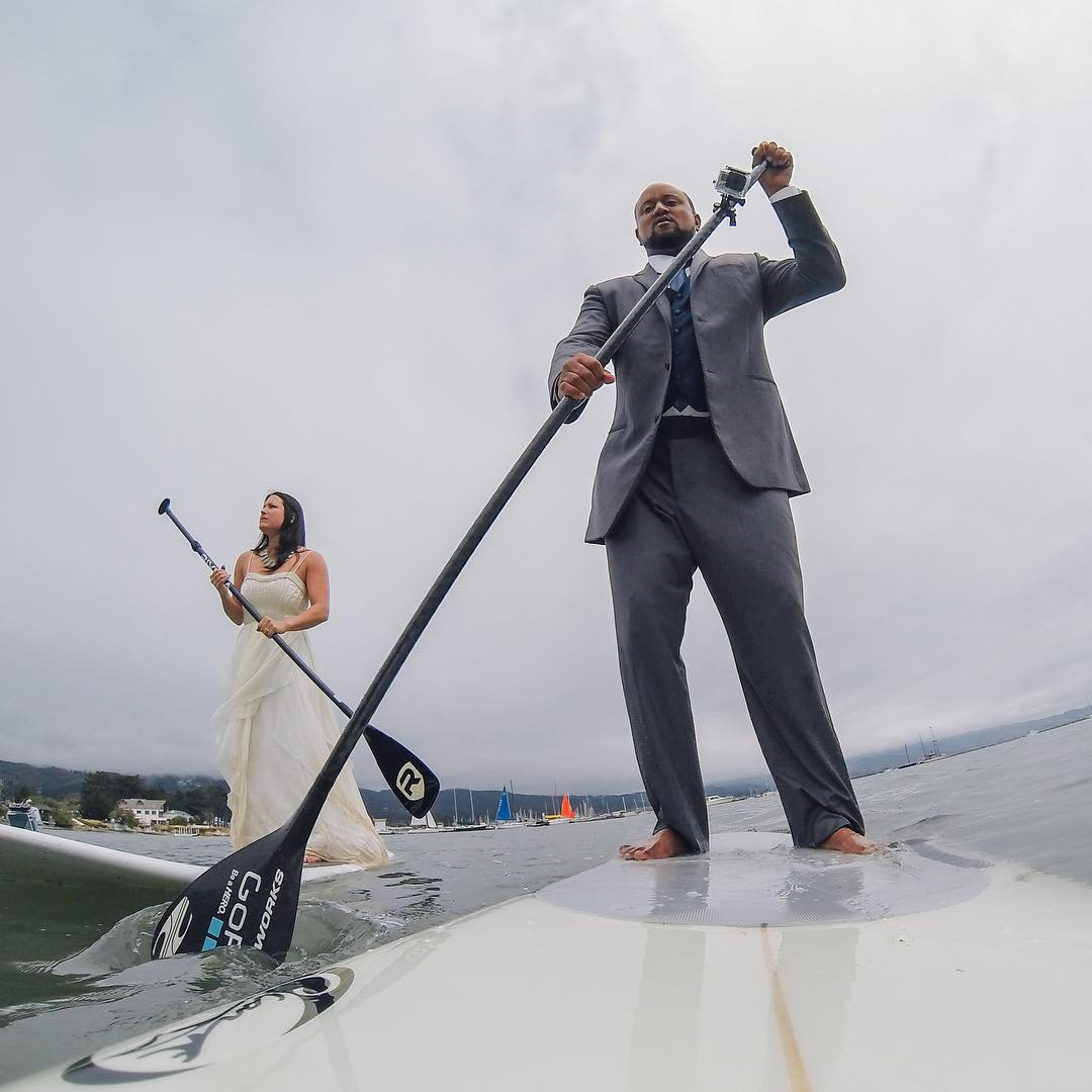 GoPro Featured Photographer - @hoost11  About the Shot - Wedding Day SUP: We wanted to do something different than your standard #wedding photos and I got this wild idea to paddle in the #HalfMoonBay harbor in our wedding clothes.  This was actually...