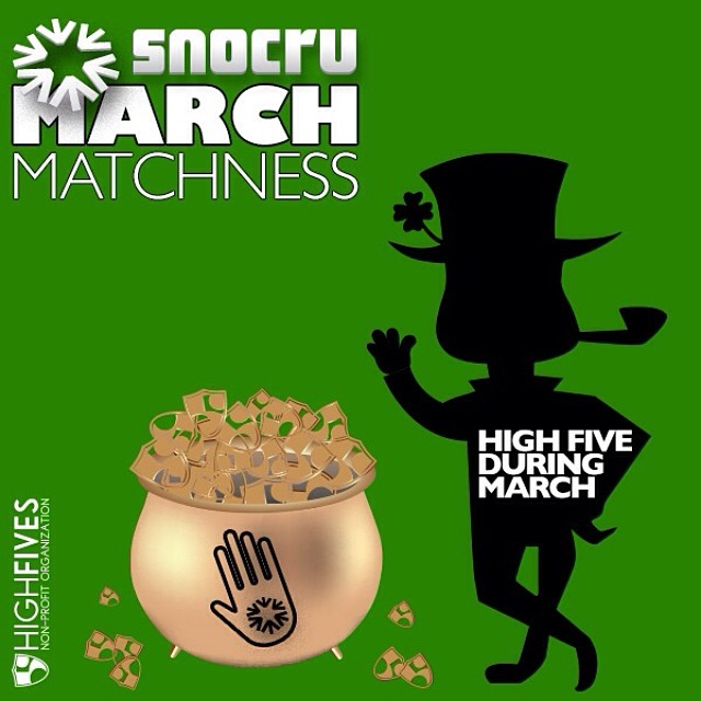 #MarchMatchness is going strong! Join in the fun with $.50 donated for each ✋High Five on the FREE mobile app's Newsfeed all month long! #HighFives #SundayFunday