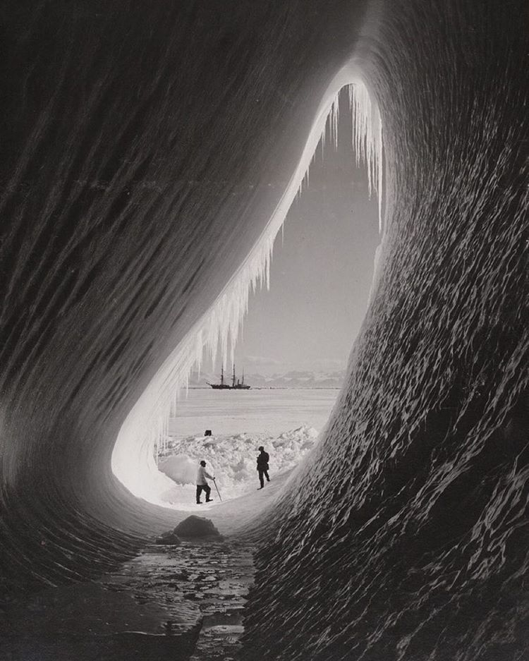 Grotto in an iceberg photographed during the British Antarctic Expedition of 1911-1913. Zoom in and you can see them listening to Noon Pacific // 169.