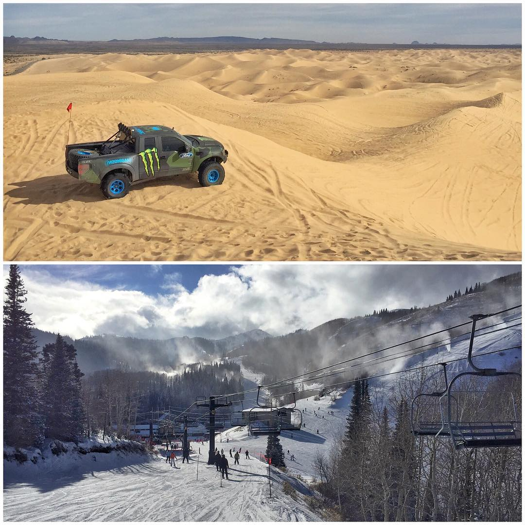 "It's been a coast-to-coast ""workweek"" for me! Went from filming at ESPN last Sunday, to NYC, to the Dunes of Glamis, CA, to finishing in my home town in Utah's snow-covered mountains. It's a busy, hectic life - but I love it. #travellife #jetlaglife..."
