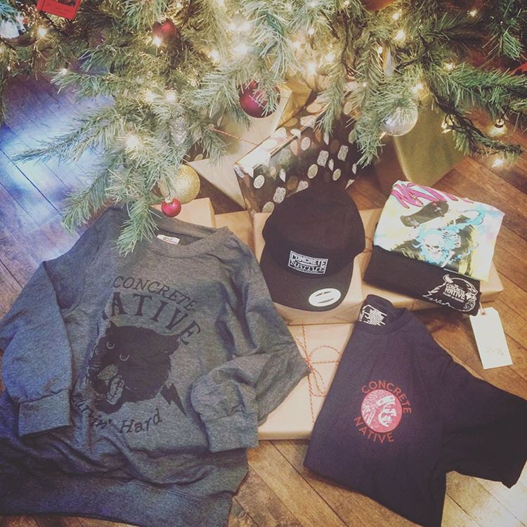 Here is a sample of what you can get with our $100 Mystery Box! Each box come with an assortment of Concrete Native apparel and accessories. Available in $50, $100, & $150 options through the end of the year. What a great holiday gift for someone...