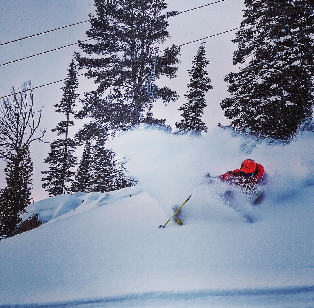 @cbwright89 celebrates the Gondy opening at @jacksonhole with this tight pow slash.  It's good up there and there's more snow on the way!  #avalon7 #liveactivated #skiing #jhlife #jhdreaming