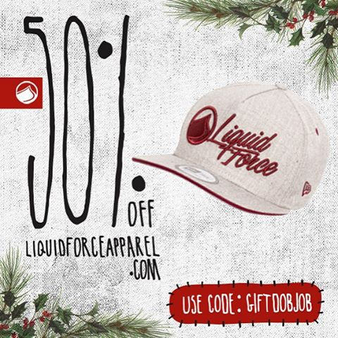 Liquid Force Apparel Holiday Shopping Spree day 3. LF / New Era cotton twill hat with leather strap closure. One size fits all. Code: GIFTDOBJOB 50% off at check out. #happyholidays #LiquidForceApparel #newera
