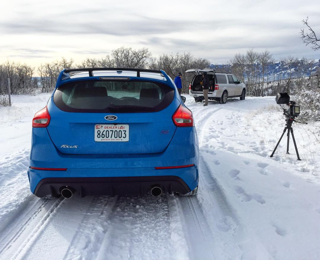 """Getting ready to shoot some """"spirited driving"""" (ad agency term) through a snowy road here in Utah. My job doesn't suck today. #perksofthejob #FocusRS #Sundayworkday #alsoSundayfunday"""