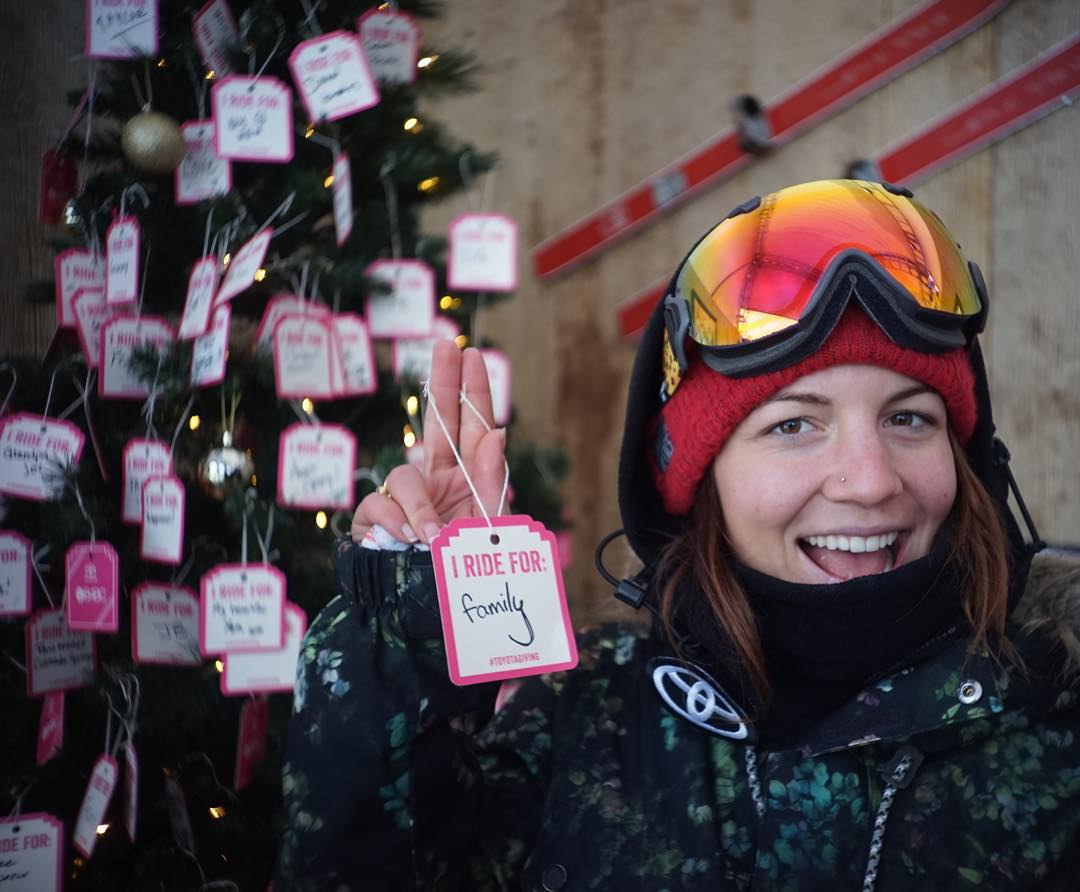 Help @ToyotaUSA support B4BC with their #ToyotaGiving campaign at @DewTour with @ElenaHight! Post your own photo on Instagram, Twitter or Facebook and share who you ride for this season with #ToyotaGiving. Thanks for helping us shred the love!