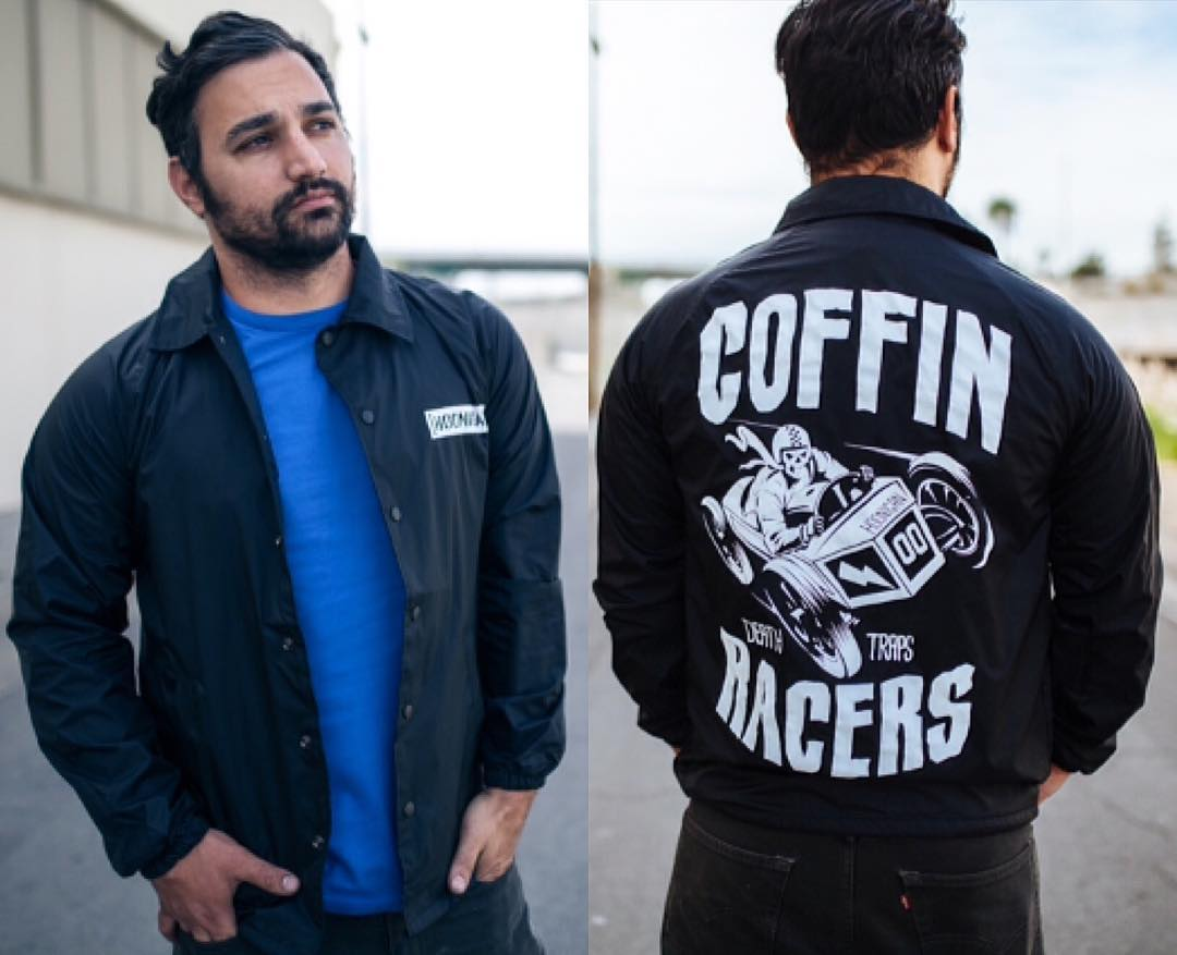 Our dude @tangelo96 showcasing the Coffin Racers coach's jacket. It's jersey lined with a nylon shell which makes it wind and weather resistant and features the large back print and C-bar on the left chest. Check it out on #hooniganDOTcom.