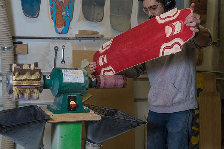 Starting the week off right with Lonnie working on some new boards in the DB shop.  #dblongboards #longboarding #longboard