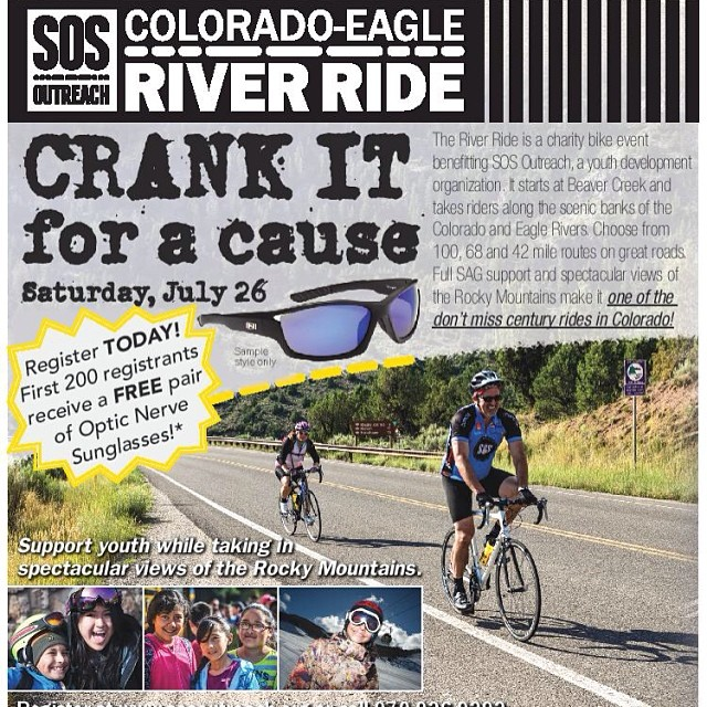 Register today at goo.gl/7QynJH for the 13th Annual Colorado-Eagle River Ride and receive a free pair of Optic Nerve Subglasses!