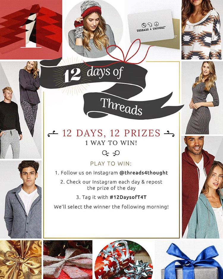 12 Days of Threads is here— 12 Days, 12 Prizes, 1 way to win!!! - Follow us on Instagram @threads4thought - Check our Instagram each day & REPOST the prize of the day. - Tag your repost with #12daysofT4T  We will announce the winner of each prize the...