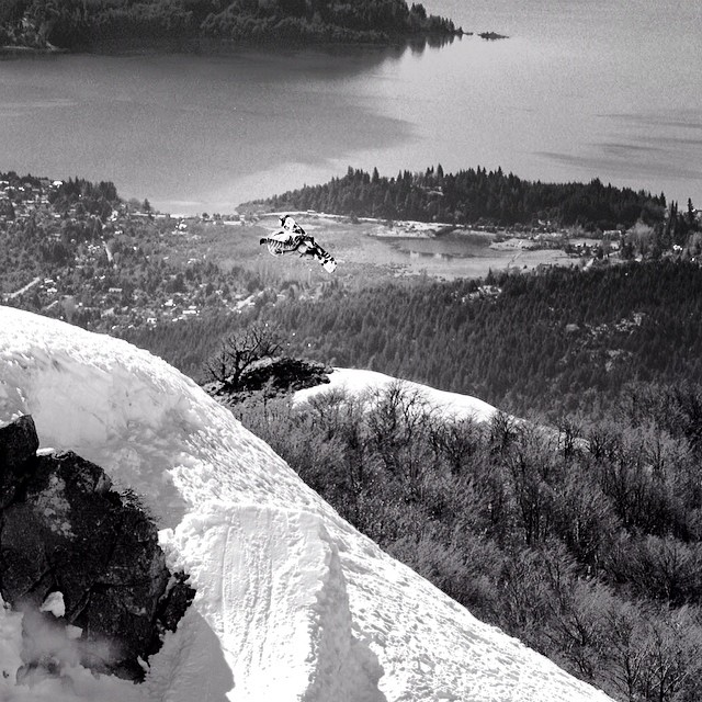 Big backcountry booter from #issue30 #steezmagazine #juliandonatelli #bariloche #argentina #snowboarding