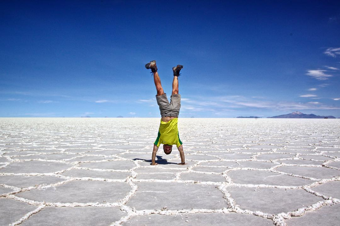 Getting my sodium intake one handstand at a time. #saltflats #bolivia