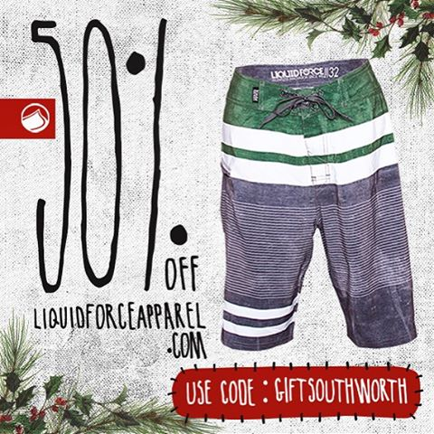 Day 5 Liquid Force Apparel Holiday Shopping Spree. The Southworth featuring 4Way stretch fabric. Board shorts are the perfect gift year around. Use code: GIFTSOUTHWORTH for 50% off at check out. #LiquidForceApparel #hottub #boardshorts #alwayssummer