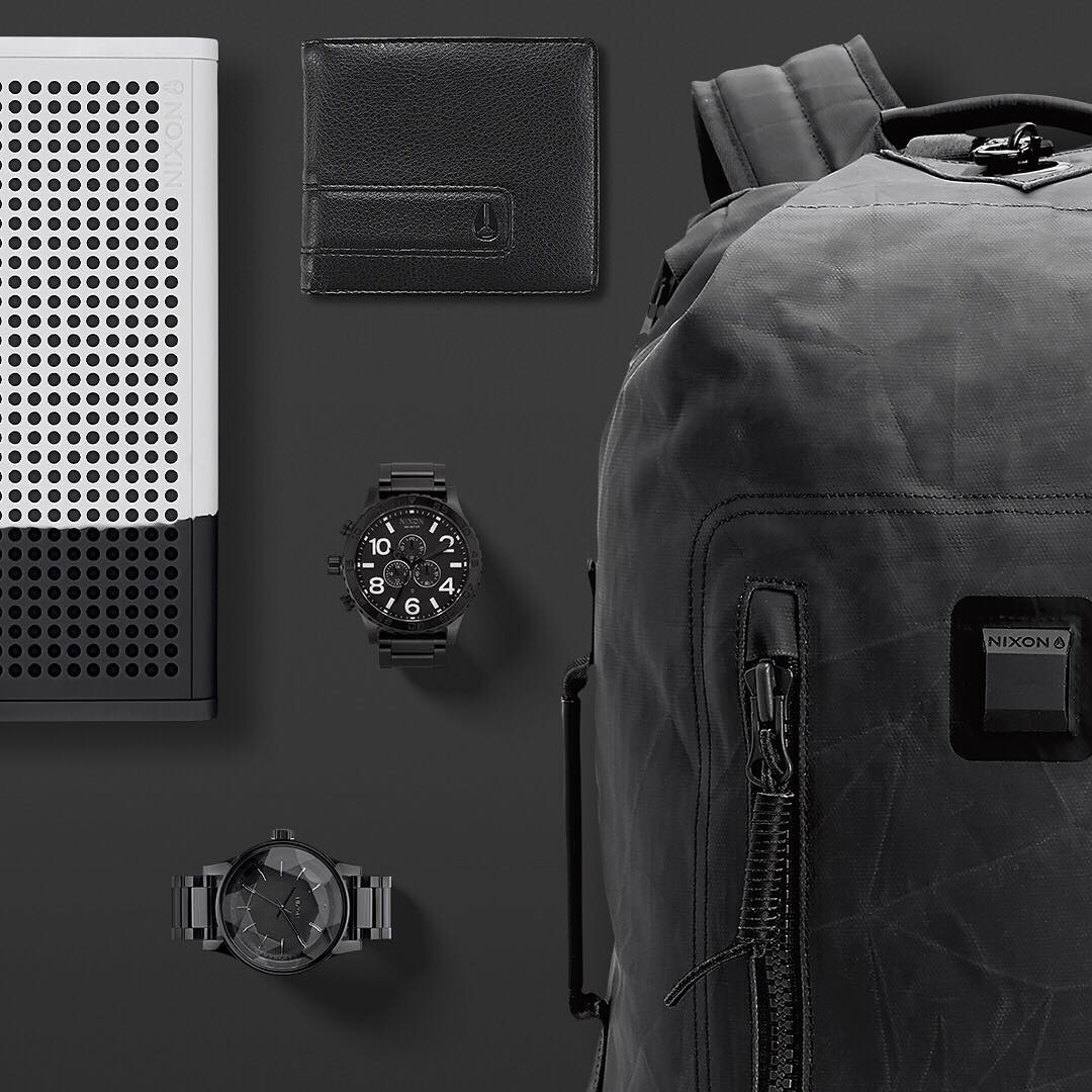 All black is always a safe bet. Get to know #Nixon's best-in-class all black watches and accessories and #GetGifting this holiday season on Nixon.com. Featuring: the #BlasterPro, the Origami Backpack, the #5130chrono and the #Facet.