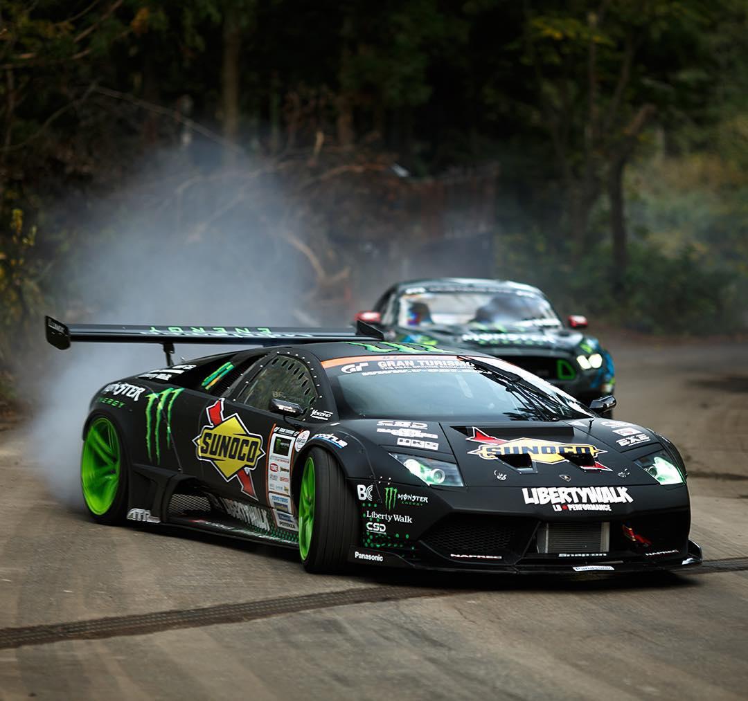 @MonsterEnergy pitted @Daigo_Saito's 650 horsepower Murciélago against @VaughnGittinJr's 550 horsepower Mustang in #BattleDrift!  Haul a** over to YouTube.com/MonsterEnergy to check it out.