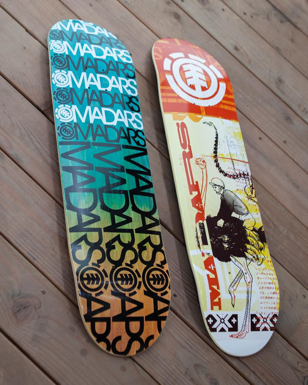 "couple fresh @madarsapse boards that recently hit the shelves >>> both 'name brand' and 'overprint' are 8.25"" featherlight boards >>> #madarsapse #elementskateboards #elementteamtuesday"