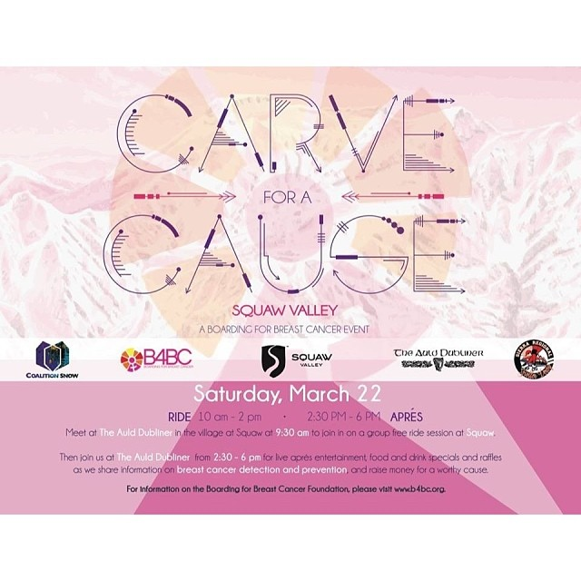 SHRED THE LOVE // #TAHOE friends if you can't make it to our #Mammoth event this weekend then please get out & #Carve4ACause @SquawValley (Saturday, March 22)! Our friends at @CoalitionSnow & #AuldDublinerTahoe are organizing a fun ride day followed by...