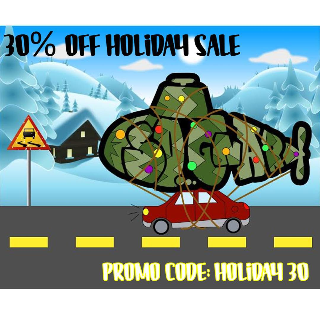 "Load up the tree and we'll send you the goods! Order online using promo code ""Holiday 30"" and receive 30% off your order and a FREE BEANIE with each order! Happy Holidays!! 〰⚡️〰 #sognar #createordie #snow #holiday #discount #sale"