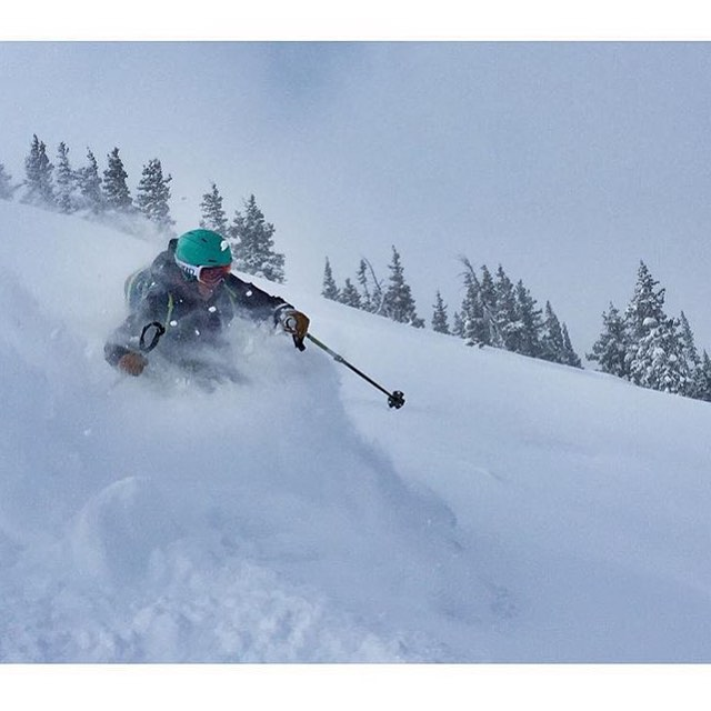 Pow slashing with our Abyss powder ski; @skisi_sawyer snuck a few turns in with finals on the horizon.